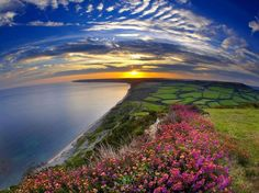 Sunset Over the Jurassic Coast Dorset England wallpapers and stock photos Beautiful World, Beautiful Places, Beautiful Pictures, Beautiful Scenery, Beautiful Sunset, Amazing Places, Beautiful Landscapes, Simply Beautiful, Fields Of Gold