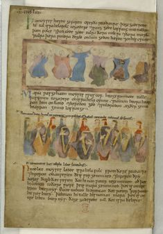 A page from the Old English Hexateuch, depicting Miriam and the daughters of Zion playing harps to celebrate victory over Pharaoh (England, 11th century): Cotton MS Claudius B IV, f. 92v