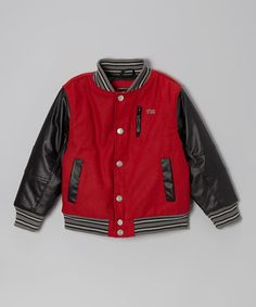 Look what I found on #zulily! Red Snap-Front Varsity Jacket - Toddler & Boys #zulilyfinds