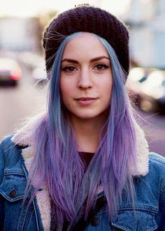 Bleach London Pastel Hair Color Dye as seen on Gemma Styles, Lou Teasdale, Lily Allen. Gemma Styles Hair, Hair Styles, Purple Hair, Ombre Hair, Purple Ombre, Pastel Purple, Hair Inspo, Hair Inspiration, Corte Y Color