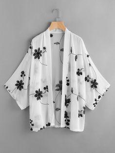 To find out about the Mono Floral Embroidered Kimono at SHEIN, part of our latest Kimonos ready to shop online today! Kimono Blouse, Kimono Outfit, Kimono Jacket, Kimono Fashion, Floral Kimono, Girls Fashion Clothes, Modest Fashion, Fashion Outfits, Clothes For Women