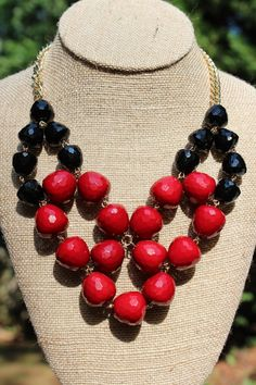Peach Roots - GameDay Necklace- Red and Black, $20.00 (http://peachroots.com/gameday-necklace-red-and-black/)