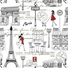 Paris Walk Printed Fabric Multicoloured 150 cm | Spotlight Australia