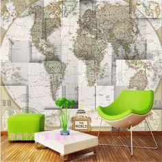 Aliexpress.com: Compre HD 3D estereoscópico Mapa Do Mundo papel de parede 2014…