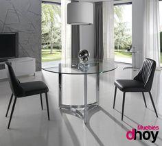 Mesa de comedor DIANA. Original y creativo diseño de líneas curvas que aportan dinamismo y elegancia contemporánea. #muebles #interiorismo #mesas #mueblesdediseño #mueblesdehoy #mueblesmodernos #mesacristal #mesacromado
