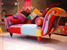 Patchwork Couch. So chic! will brighten up any room. created by designer Lisa Whatmough #patchwork