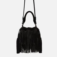 LEATHER DOLLY BAG WITH FRINGE AND CHAINS
