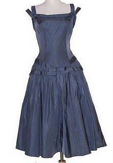 great vintage blue silk dress