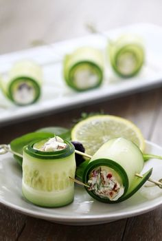 Cucumber Feta Rolls | You can easy and quickly prepare yummy appetizer for your holiday table.   And it is perfect snack for those who are filled and don't want to overeat.  You will adore cucumbers after trying this way of cooking. Simply things become extravagant if you can cook as real artist with great imagination.