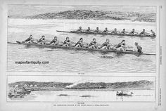 "The-Yale-Harvard-Boat-Race-at-New-London     Antique black and white engraved illustration by A.B. Frost from the July 5, 1884 edition of Harper's Weekly, of the starting and finishing scenes from ""The Race"", one of the American Ivy League's oldest continuing contests, the Yale-Harvard rowing competition on the Thames River. Crew, rowing antique sports print is in very good condition, approx. 9 x 14 inches. Black and White Antique Illustration - item #COL020 Antique Maker: Harper's Weekly…"