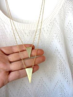 Statement triangle gold brass double pendant necklace by lunahoo