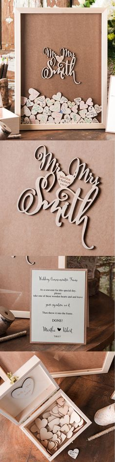 alternative wedding guestbook price 145$ for set 12inch on 14 inch wooden frame, 80 wooden hearts, rustic box,tented info, card and pen with holder #guestbookalternatives #WeddingFavorIdeas