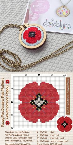Free Remembrance Poppy design by Rachel James of Fuzzy Fox Designs