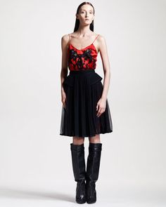 Chiffon/Tweed Skirt by Givenchy at Bergdorf Goodman.