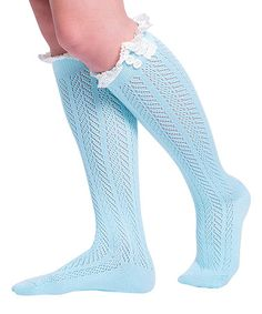 Mint Pointelle Chevron Knee-High Socks - Women #zulily #zulilyfinds