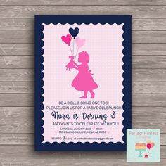 Heart Baby Doll Birthday Party Invite by PerfectHostess on Etsy https://www.etsy.com/listing/267423349/heart-baby-doll-birthday-party-invite