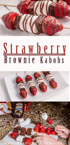 Perfect snack for potlucks, parties, office events, neighborhood gatherings. Fun and easy to make, even the kids can make them. Strawberry Brownie kabobs can be a snack or a dessert. Who doesn't love food on a stick? Yummy .  #devourdinner #recipe #recipe
