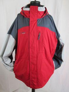 Men's Columbia Vertex Core Interchange Jacket with Hood Red & Gray Size XL #Columbia #BasicJacket