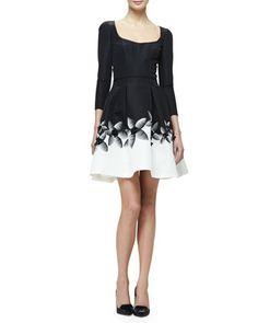 3/4-Sleeve+Fit+&+Flare+Cocktail+Dress,+Black/White+by+Carolina+Herrera+at+Neiman+Marcus.