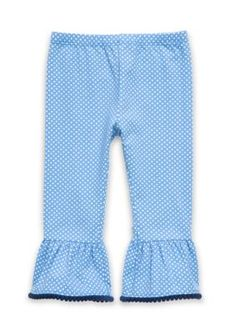 Nursery Rhyme Girls Infant Ruffle Bell Bottom Polka Dot Legging - Blue Dot - 6 - 9 Months