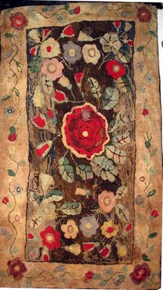 HEARTH ANTIQUE HOOKED RUG, BOLD FLORALS, early New England