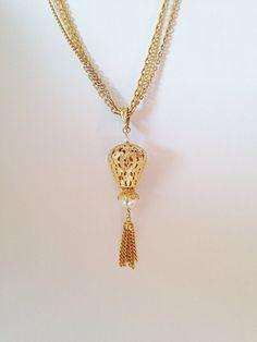 Vintage Celebrity Tassel Dangle Necklace Triple by ArtDecoDame