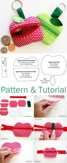 Lunch Money Zippered Apple Pouch Tutorial & Pattern http://www.free-tutorial.net/2017/05/money-zippered-apple-pouch.html