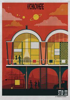 Galeria de ARCHINOWHERE: Um universo arquitetônico paralelo ilustrado por Federico Babina - 5