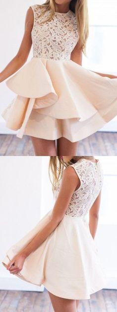 Beige Sheer Crochet Lace Panel Sleeveless Layered Skater Dress, Homecoming Dress, Prom Dresses