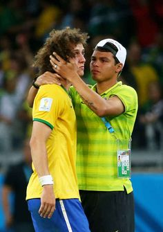 JULY Thiago Silva of Brazil (R) consoles teammate David Luiz after Germany's victory during the 2014 FIFA World Cup Brazil Semi Final match between Brazil and Germany at Estadio Mineirao on July 2014 in Belo Horizonte, Brazil. Football Is Life, Football Fans, Football Players, Football Stuff, World Cup 2014, Fifa World Cup, Brazil Vs Germany, Brazil Team, Good Soccer Players