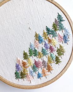 MADE TO ORDER Half Forest Embroidery hoop, pine trees, fiber art, wall hanging Learn Embroidery, Embroidery Hoop Art, Cross Stitch Embroidery, Embroidery Patterns, Cross Stitch Patterns, Diy Broderie, Embroidery Techniques, Fabric Crafts, Needlework