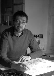 """""""Enrique QUEVEDO es un ilustrador español que no para nunca de sorprenderme con su profesionalidad, creatividad y con su mundo surrealista lleno de detalles. Dibuja con lápices, usa formas geométricas y colores puros. Tiene un estilo muy característico, sus dibujos transmiten alegría."""""""