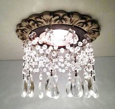 florentine recessed trim with clear tear drop crystals
