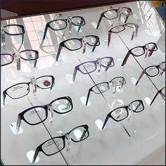 A dramatic presentation is guaranteed by this Declined Eyeglass Selection Backlit Display. The declined counter-height presentation keeps all frames visible Glasses Frames, Eye Glasses, Store Fixtures, Store Design, Clear Acrylic, The Selection, Eyewear, Presentation, Retail