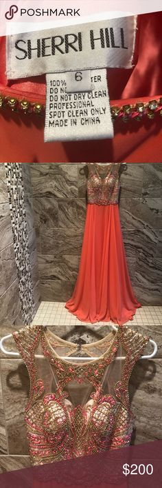 Formal gown in striking coral Bead detailed bodice with sheer nude. Gorgeous coral full length. Worn once and like new condition. Sherri Hill Dresses Prom