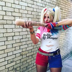 Dressed to impress: Holly Willoughby dressed up as Harley Quinn while filming Celebrity Juice's Halloween special on Friday
