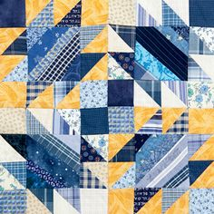 From Quiltmaker's 100 Blocks Volume 10, this is Something Blue by Bonnie Hunter. Still on newsstands or from quiltandsewshop.com.