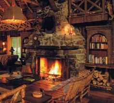 lodge fireplace.