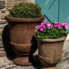 Subtle curves update the classic urn shape of the Campania International Pascal Urn Cast Stone Planter . A natural choice for your landscape design,. Large Garden Planters, Stone Planters, Urn Planters, Outdoor Planters, Garden Urns, Wooden Garden, Ceramic Planters, Half Moon Bay, Parks