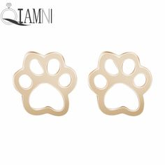 Pet Lovers Gift Cute Cat and Dog Puppy Paw Print Animal Stud Earring Christmas Piercing Statement Jewelry Girls Women Pendientes