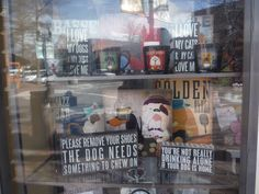 Window full of quotes in Bend, Oregon.
