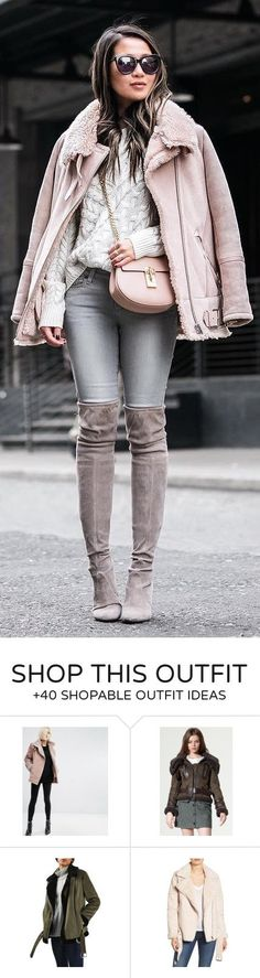 #winter #fashion / Pink Jacket / Grey Skinny Jeans/ Brown Velvet OTK Boots / White Knit