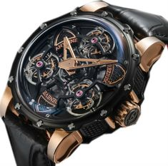 rose gold black titanium - Antoine Preziuso Tourbillon of Tourbillons - швейцарские мужские наручные часы - золотые, +титановые - черные - турбийон, скелетон