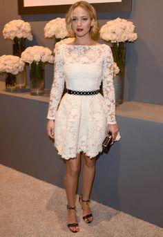 Jennifer Lawrence looking LUSH in lace | http://www.cosmopolitan.co.uk/fashion/celebrity/news/a30605/jennifer-lawrence-lace-women-in-hollywood/