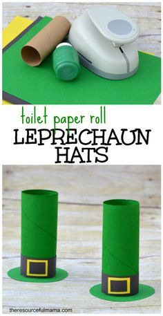 St. Patrick's Day toilet paper roll leprechaun hat craft for kids... you can fill them with a little candy, too.