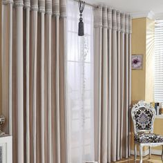 Exclusive Beige Blending Materials Thermal and Eco-friendly Curtains (Two Panels)