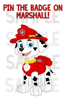 This listing is for one ZIP file containing 2 PDF files and 2 JPG files so you can print your own Pin the Badge on Marshall game for your childs