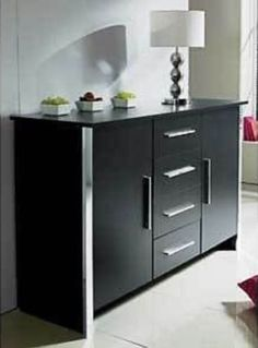 Sideboard Or Cupboard Black Ash 4 Drawer 2 Door Chrome Trim Finish Brand New