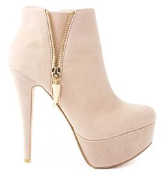 Women Gold Chili Zipper Stiletto High Heel Platform Ankle Booties ** Check this awesome image  : Pumps Shoes