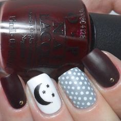 How fun is this mani?! Matte, polka dots & a moon and stars by @carlysisoka!  - Moon and Stars Decals snailvinyls.com